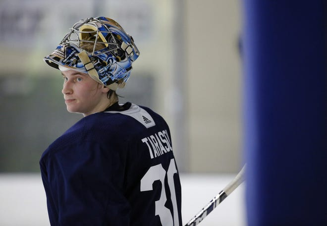 Goalie Daniil Tarasov, at Blue Jackets development camp in June 2019, is one of several Russian prospects in the Blue Jackets pipeline.