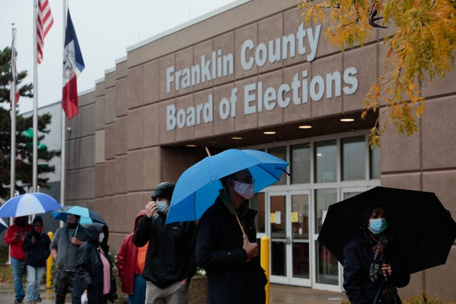 Despite almost-steady rain Monday, more than 4,300 voters showed up at the Franklin County Board of Elections to cast an early in-person ballot - the third highest total in the two weeks the early voting center has been open. Voters waited for up to 45 minutes to cast their ballot.