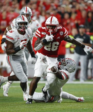 Dedrick Mills (26) led Nebraska in rushing last season with 745 yards. He had 67 yards and a touchdown in a Sept. 28 loss to Ohio State.