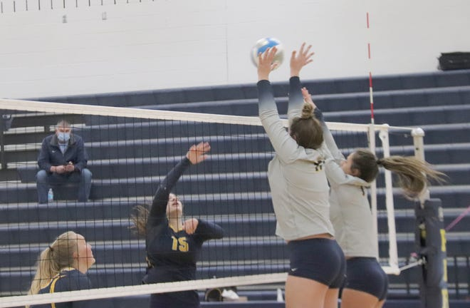 Libby Salentine tries for a kill during Crookston's three-set loss to Stephen-Argyle Monday night.