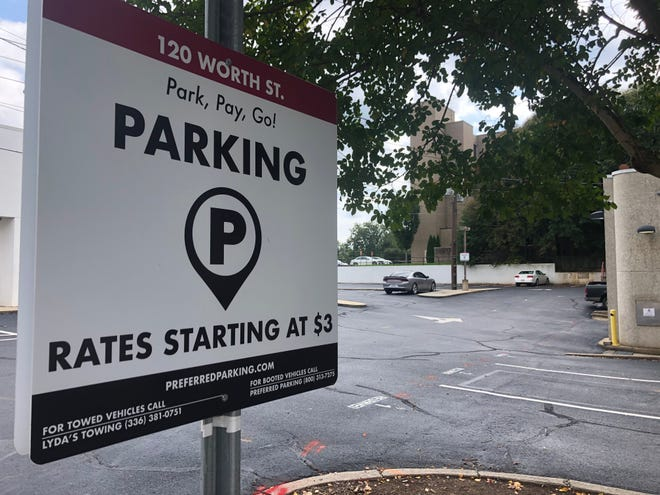 Rates for parking in this Worth Street lot in downtown Asheboro are $3 for 5 hours, $5 for 12 hours or $65 per month.
