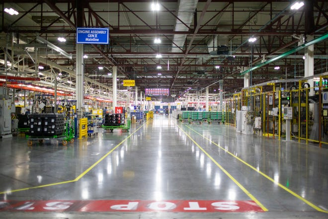 Long hallways divide bays of the Global Propulsion Systems assembly line inside the Spring Hill manufacturing facility on Thursday, Jan. 16, 2020.