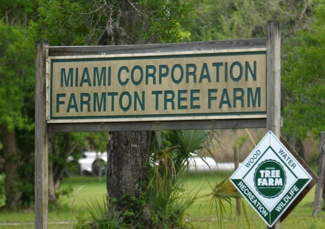 A Miami Corp. sign is seen at the edge of the Farmton property in Southeast Volusia in this file photo. The City of Edgewater annexed in a portion of the land to be developed by the company.