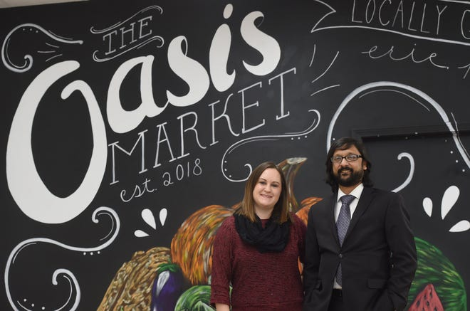 Shown are Faith Kindig and Jonathan D'Silva, co-founders of the Oasis Market at 914 State St. in Erie, which is closing. The market will still co-sponsor the fall festival with the Erie Downtown Partnership this Sunday.