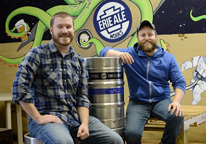 Erie Ale Works co-owners Jeff McCullor, left, and Steve Anthony, are working hard to expand offerings of the craft brewery.