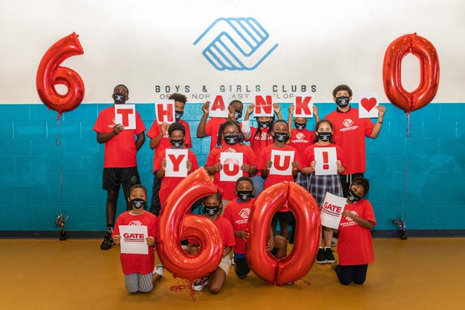 The Gate Foundation donated $60,000 to the Boys & Girls Clubs of Northeast Florida to celebrate Gate Petroleum Co.'s 60th anniversary.