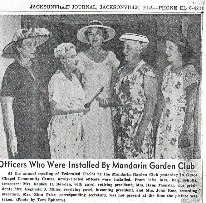 This photo marking the installation of new officers at the Mandarin Garden Club appeared in the Jacksonville Journal circa 1956. The club celebrates its 75th anniversary on Nov. 7-8.