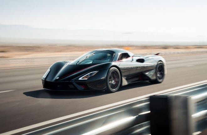 The SSC Tuatara Hypercar during its speed record drive.