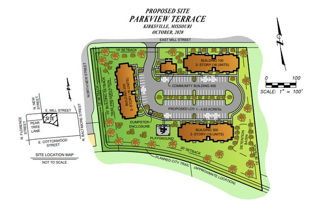 A rendering of the Parkview Terrace housing complex planned for East Mill Street in Kirksville.