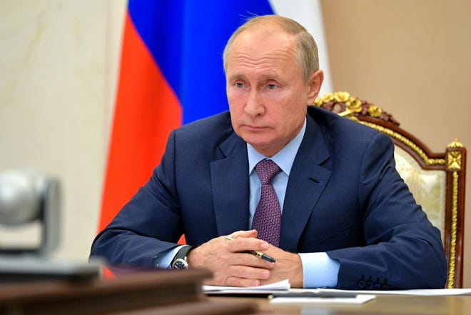 Russian President Vladimir Putin chairs a Security Council meeting via video conference in Moscow, Russia, last week.