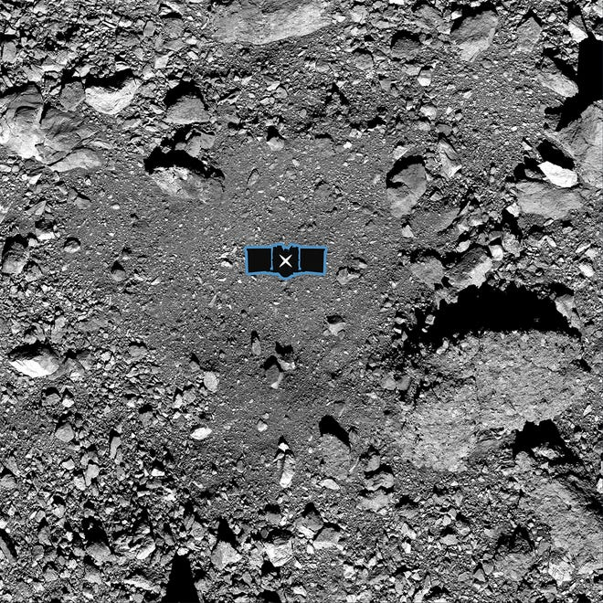 """This undated image made available by NASA shows the OSIRIS-REx spacecraft's primary sample collection site, named """"Nightingale,"""" on the asteroid Bennu. An outline of the OSIRIS-REx spacecraft is placed at center to illustrate the scale of the site."""