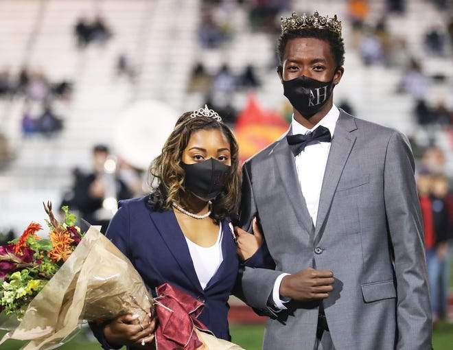Javaria Mitchell and Adam Herron were named Oak Ridge High School's 2020 Homecoming Queen and King during halftime of the game between Oak Ridge Wildcats and Mt. Juliet at Blankenship Field in Oak Ridge on Friday, Oct. 16.