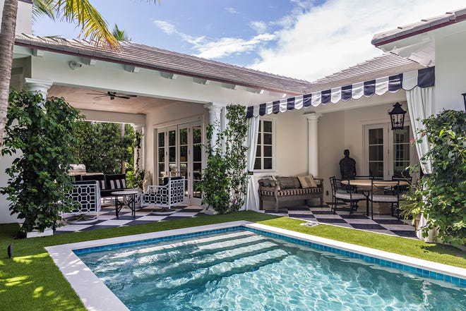 Michael Steranka and Jane Sinclair's house at 266 Orange Grove was designed so the poolside areas become a focal point for indoor rooms. The house is listed for sale at $4.95 million.