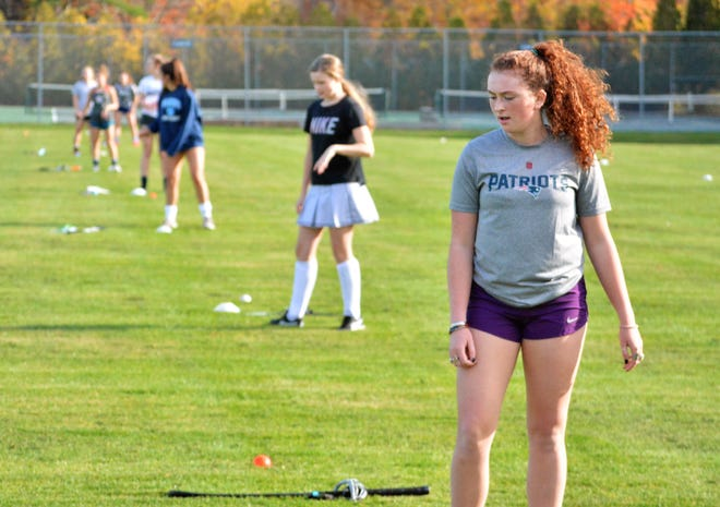 Ashley LaPierre, front, and the York High School field hockey team was on the field Monday for its first practice of the season.