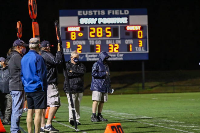 Exeter High School football coach Bill Ball looks on during last week's game against Spaulding at Eustis Field. The Blue Hawks will host Portsmouth this Friday night as one of three Division I play-in games for the 2020 state tournament.