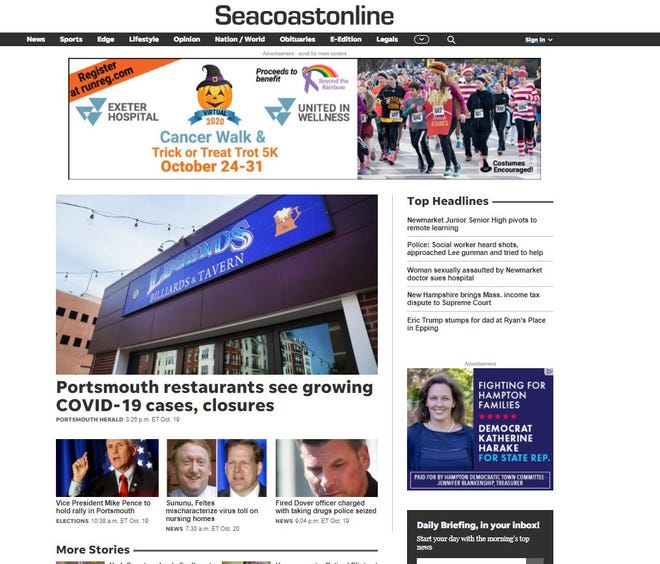 A screenshot of the upgraded Seacoastonline website that launched Tuesday morning.