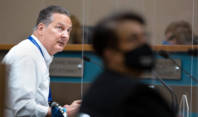 Bill Johnson, director of Palm Beach County Division of Emergency Management, speaks Oct. 20 about COVID-19 during the Palm Beach County Commission meeting in West Palm Beach.