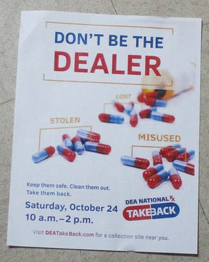 Pratt police will have a drug take back table set up this Saturday, October 24, from 10 a.m. to 2 p.m. at Pratt WalMart, 2003 E. First Street.