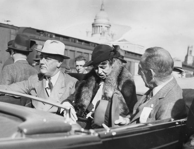 President Franklin Delano Roosevelt and his wife, Eleanor, ride through Providence with Rhode Island Gov. Theodore Francis Green on Oct. 21, 1936.