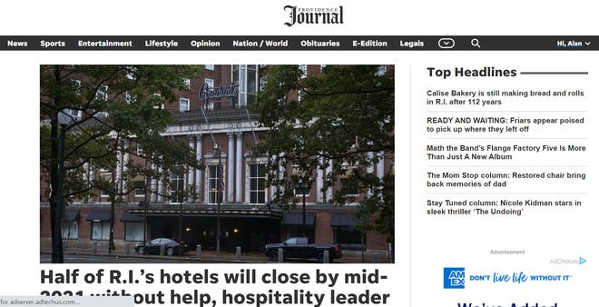 The new-look providencejournal.com, shortly after launch on Oct. 20.