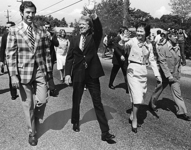 President Jimmy Carter greets voters in Warwick and Cranston in 1979, with his wife, Rosalynn.