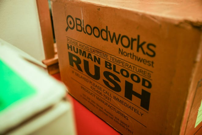 Lane Bloodworks transports blood, platelets and plasma in specially packed boxes that are transported by inventory specialists.
