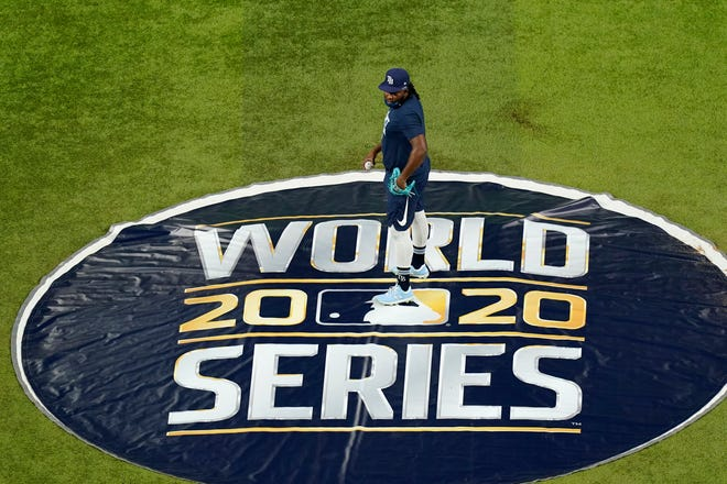 The World Series between the Tampa Bay Rays and the Los Angeles Dodgers begins Tuesday in Arlington, Texas. (AP Photo/Eric Gay)
