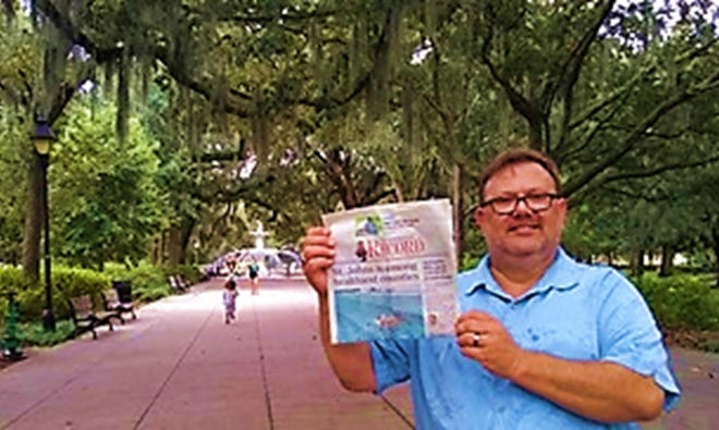 Peach State: St. Augustine resident, Karl Vierck, took a trip to Savannah, Georgia. On business to sit for his Georgia real estate broker's exam, Vierck is pictured in iconic Forsyth Park, close to Johnny Mercer's historic home. Vierck has no plans to leave St. Augustine, but wishes to serve his customers better by being licensed in the neighboring state. He passed!