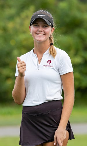 Defending state champion Jacqueline Putrino of Riverview High is one shot off the pace in second place after the first day of the Class 3A girls golf championships Friday at Howey-in-the-Hills.