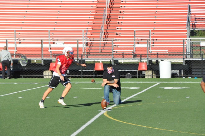 Only guests of athletes will be allowed as spectators at Smyrna High School fall sports events. Pictured here is Smyrna High football practice Oct. 15.