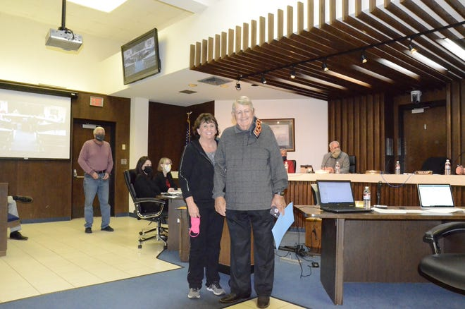 Former Ward 3 Shawnee City Commissioner James Harrod was honored Monday night with a mayoral proclamation designating Oct. 6 — Harrod's birthday — James Harrod Day. Harrod is shown with his wife, Kaye.
