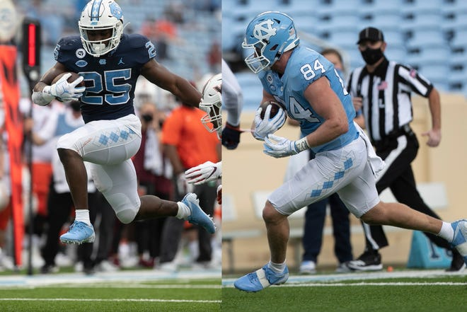 North Carolina's Javonte Williams (left) and Garrett Walston are two local standouts ready for a historic matchup with N.C. State.