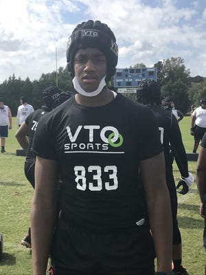 West Craven defensive end Cazeem Moore is a Class of 2022 prospect who shined at VTO Showcase in Greenville on Sunday. (Staff photo by Sammy Batten}