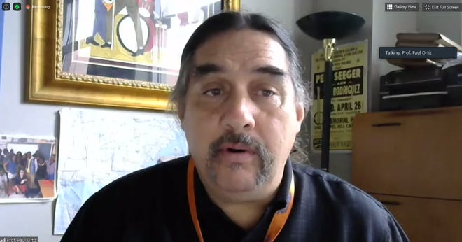 Paul Ortiz, professor of history and president of the University of Florida's chapter of the state faculty union, at a Tuesday virtual press conference. Faculty and graduate assistants raised concerns about resuming in-person classes next spring.