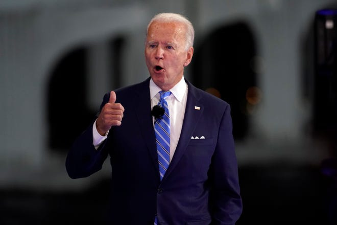 Democratic presidential candidate former Vice President Joe Biden speaks at a NBC town hall in Miami on Oct. 5.