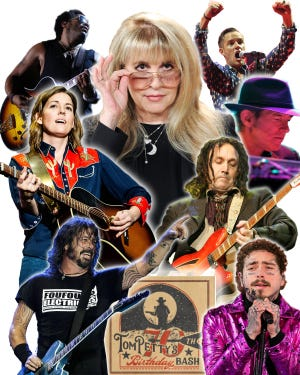 Lenny Kravitz, top left, and Post Malone, bottom right, are among those scheduled to appear the fourth annual Tom Petty Birthday Bash. The 2½-hour virtual celebration kicks off Friday at 4:30 p.m. on Sirius XM and Amazon Music. [Illustration by Brad McClenny]