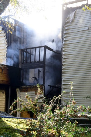 The Gadsden and Glencoe fire departments work Tuesday to put out a fire at Pine Ridge Apartments on West Air Depot Road, near Glencoe but in the Gadsden city limits.
