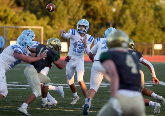 Quarterback Jacob Moeller and Olentangy Berlin play at Westerville South on Friday, Oct. 23, in a Division II, Region 7 quarterfinal.