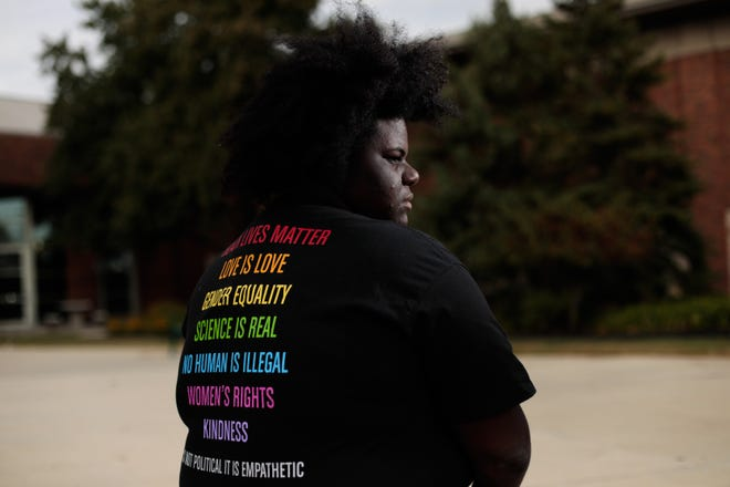 After a teacher and two principals at Dublin Scioto High School were prohibited from wearing T-shirts bearing some politically oriented statements earlier this school year, senior Lucy McGary, 17, created and sold similar T-shirts for students to wear to show their support.