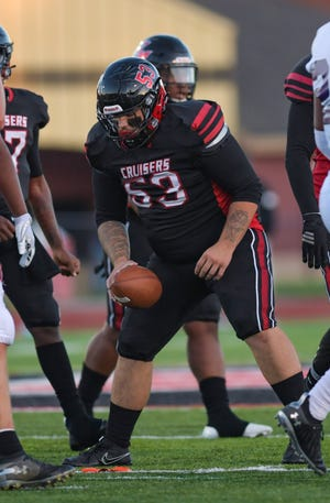 Center Leland Slaven is a four-year starter for the Groveport Madison football team. The offensive line has paved the way for a successful running game for the Cruisers, who over the last two seasons have averaged 252.1 yards rushing per game and 6.13 yards per carry.