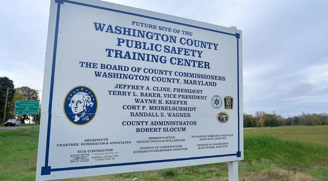 A sign for the Washington County Public Safety Training Center is pictured here near the 49 acre site at 9238 Sharpsburg Pike.