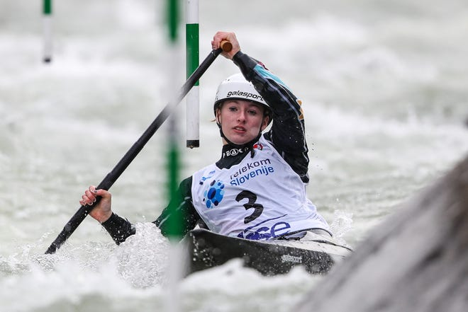 Evy Leibfarth, of Bryson City, earned a bronze medal in slalom canoe Oct. 18 at the ICF Slalom World Cup in Tacen, Slovenia.