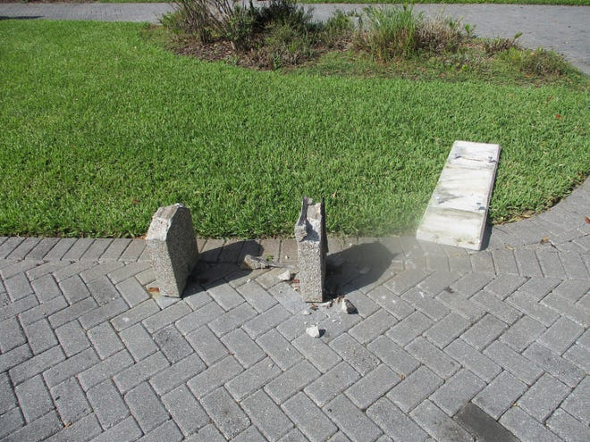 At least 10 benches in Eau Gallie Square park were damaged or destroyed over the weekend.