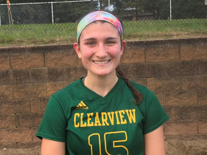 Clearview senior Sydney Strauss was one of the key players during the Pioneers' 3-0 win over Delsea on Monday.