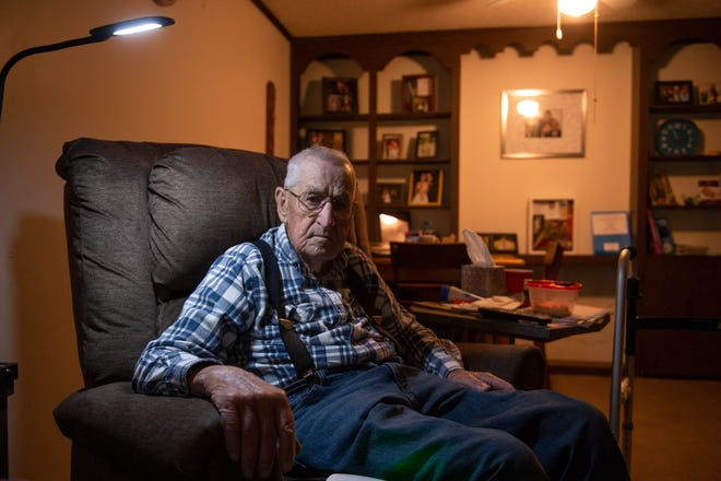 George Rooks, author of The Ole Fisherman column, poses for a portrait at his apartment in Bethel on Tuesday, Oct. 20, 2020.