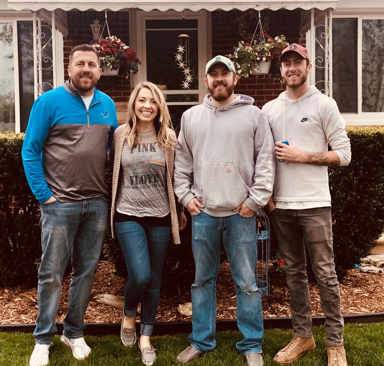 From left, Dean Burnett Jr., Kristin Burnett, Aaron Burnett, and Austin Burnett pose for a photo in Southgate on Austin's 25th birthday, May 11, 2019.