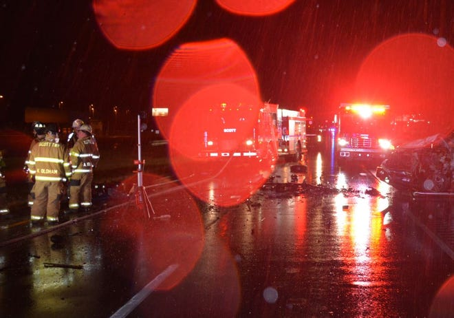 First responders on the scene of a fatal crash on Oct. 19 U.S. 41 north of East Baseline Road.