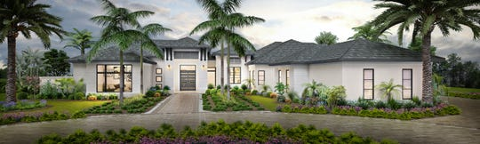 Oak Hill Front Exterior:  Theory Design's Vice President of Design Ruta Menaghlazi and Lead Designer Adriene Ged have completed the interior design for Seagate Development Group's furnished Oak Hill grand estate model at Quail West.  The model is now open for viewing and purchase.