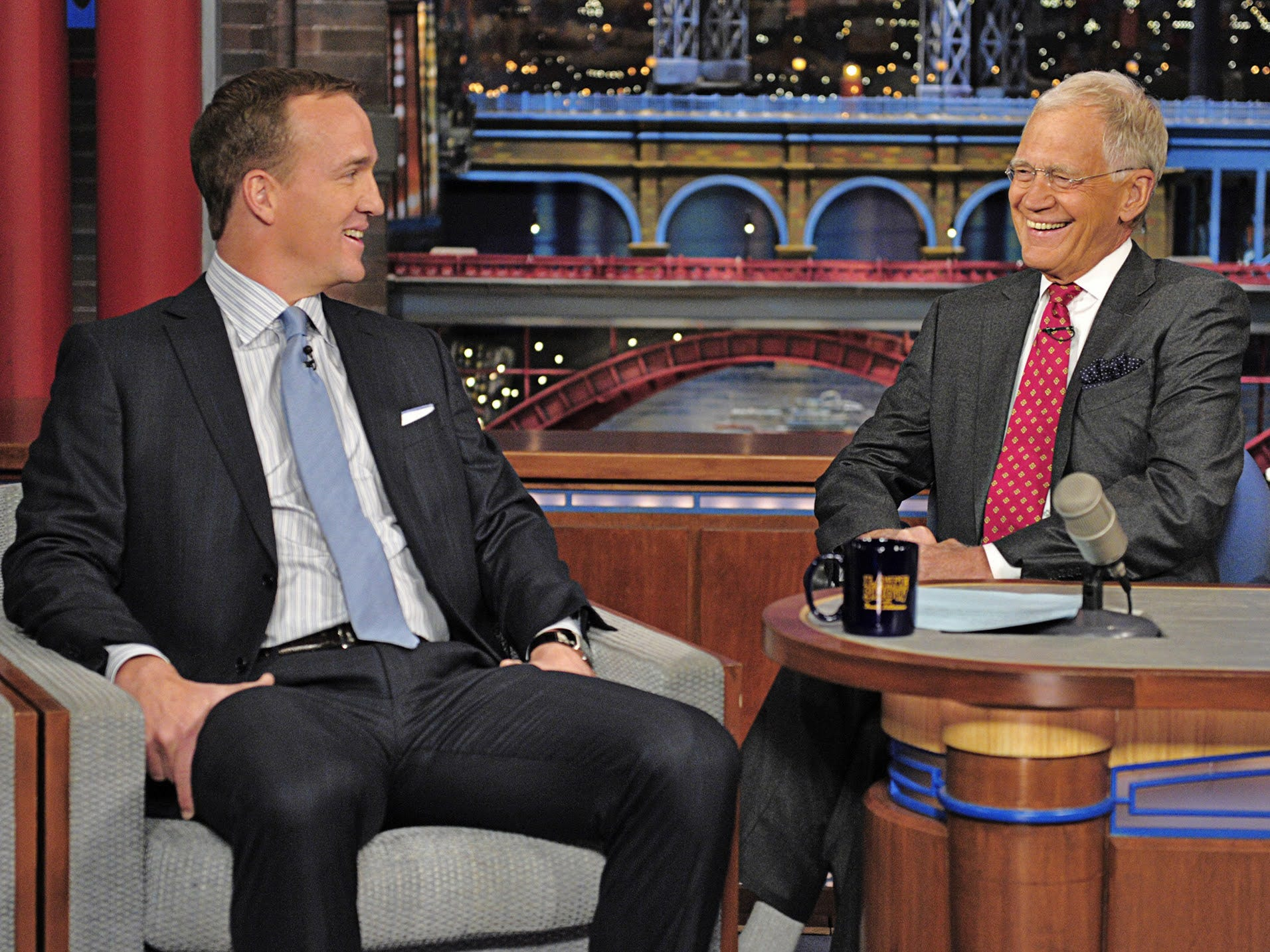 Peyton Manning, David Letterman get together at Ball State for TV project