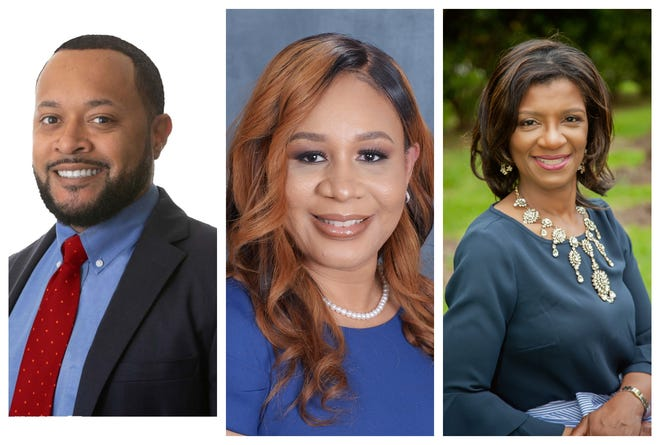 """Candidates for 15th JDC Division B judge seat from left to right: Travis Broussard, Shytishia """"SAM"""" Flugence and Valerie Gotch Garrett"""